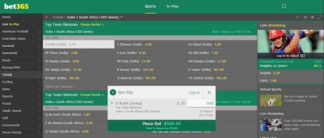 bet365 cricket betting in india