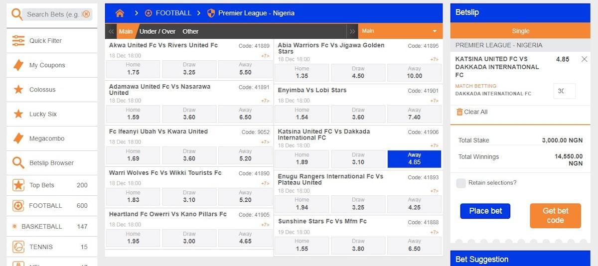 nigerian football league betting odds